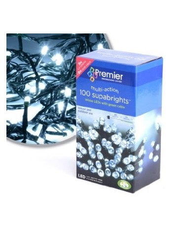 Premier 100 White LEDs with Green Cable