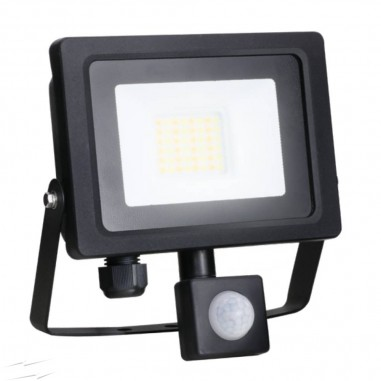 10w Slim LED Floodlight with PIR Black