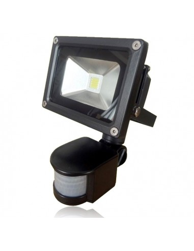 10w LED Floodlight with PIR Black