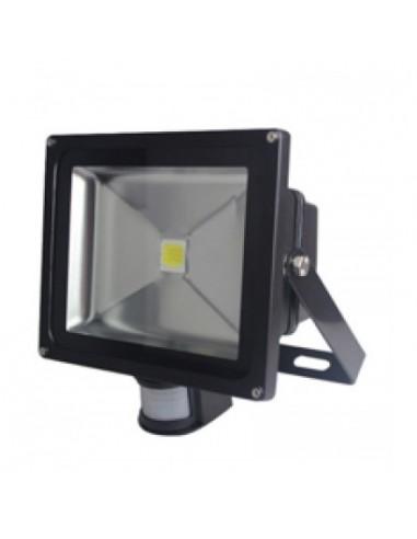 30w LED Floodlight with PIR Black